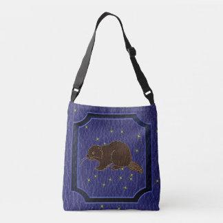 Leather-Look Native American Zodiac Beaver Crossbody Bag