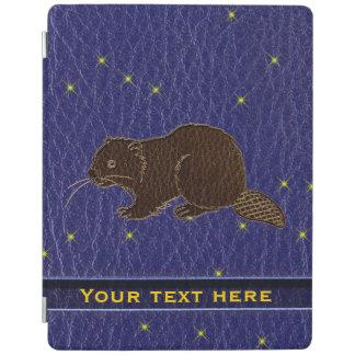 Leather-Look Native American Zodiac Beaver iPad Cover