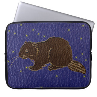 Leather-Look Native American Zodiac Beaver Laptop Computer Sleeves