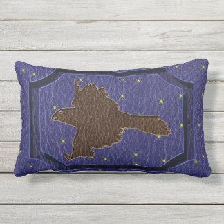 Leather-Look Native American Zodiac Falcon Outdoor Pillow
