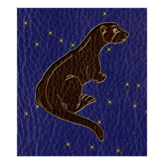 Leather-Look Native American Zodiac Otter Poster
