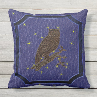 Leather-Look Native American Zodiac Owl Outdoor Pillow