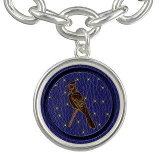 Leather-Look Native American Zodiac Woodpecker Charm Bracelet
