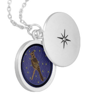 Leather-Look Native American Zodiac Woodpecker Silver Plated Necklace