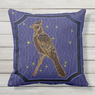 Leather-Look Native American Zodiac Woodpecker Throw Pillow