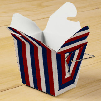 LEATHER LOOK PATRIOTIC STRIPES-FAVOR BOX take out Wedding Favor Boxes