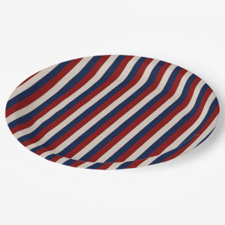 LEATHER LOOK PATRIOTIC STRIPES-PAPER PLATES 9 INCH PAPER PLATE