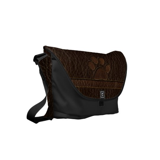 Leather-Look Paw Dark Commuter Bag