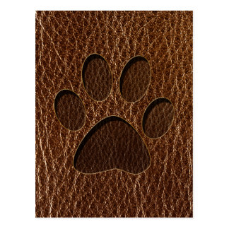 Leather-Look Paw Post Card