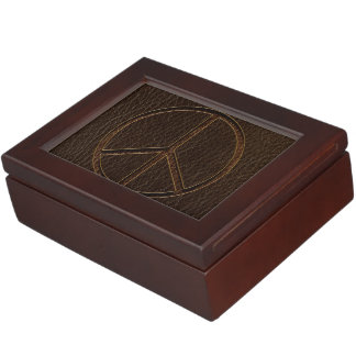 Leather-Look Peace Brown Dark Memory Boxes