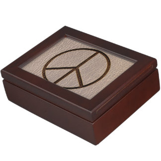 Leather-Look Peace Brown Soft Keepsake Boxes