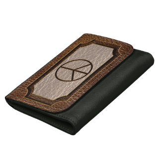 Leather-Look Peace Brown Wallets