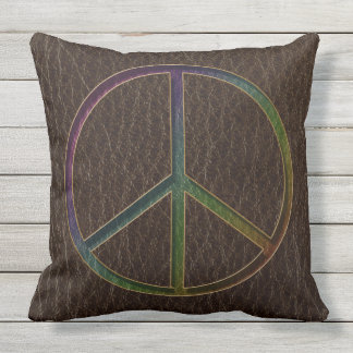 Leather-Look Peace Colour Dark Throw Pillow