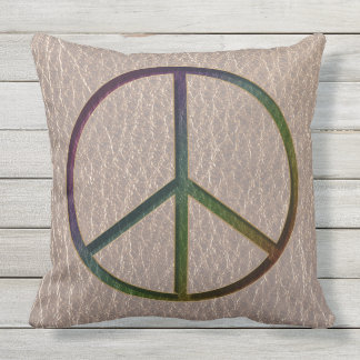 Leather-Look Peace Colour Soft Outdoor Pillow