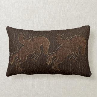 Leather-Look Rodeo Dark Lumbar Pillow