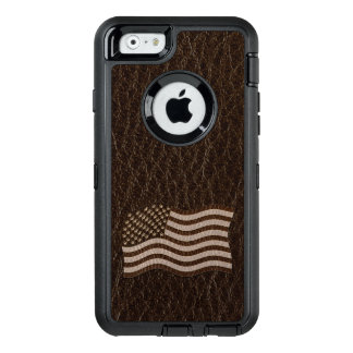 Leather-Look USA Flag Dark OtterBox Defender iPhone Case