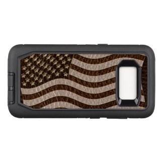 Leather-Look USA Flag Dark OtterBox Defender Samsung Galaxy S8 Case