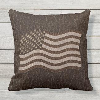 Leather-Look USA Flag Dark Throw Pillow