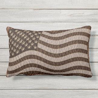 Leather-Look USA Flag Lumbar Pillow
