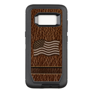 Leather-Look USA Flag OtterBox Defender Samsung Galaxy S8 Case