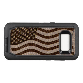 Leather-Look USA Flag Soft OtterBox Defender Samsung Galaxy S8 Case