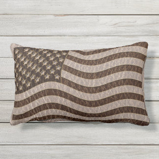 Leather-Look USA Flag Soft Outdoor Pillow