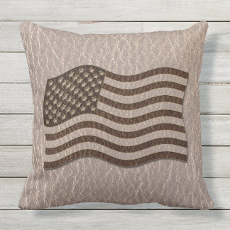 Leather-Look USA Flag Soft Throw Pillow