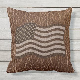 Leather-Look USA Flag Throw Pillow
