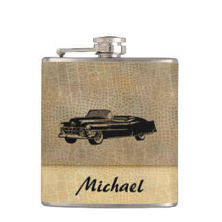 Leather look vintage classy old car personalized hip flask