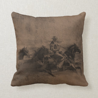 Leather Look Western Cowboy Reversible Pillow