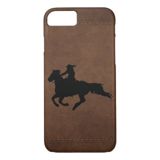 Leather-look Western Rodeo Galloping Horse Rider iPhone 8/7 Case