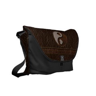Leather-Look Yin Yang Heart Dark Commuter Bag
