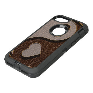 Leather-Look Yin Yang Heart OtterBox Defender iPhone 8/7 Case