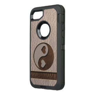 Leather-Look Yin Yang Heart Soft OtterBox Defender iPhone 8/7 Case