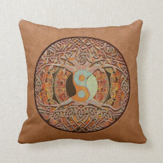 Leather Look Yin Yang Tree of Life Throw Pillow