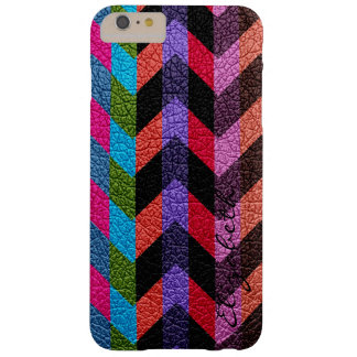 Leather Multicolor Chevron Stripes #2 Barely There iPhone 6 Plus Case