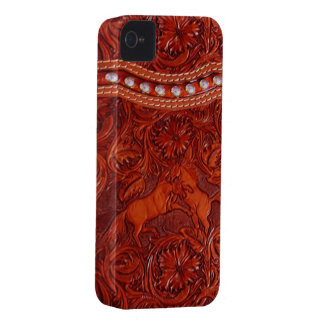 leather mustangs with silver beading iphone case