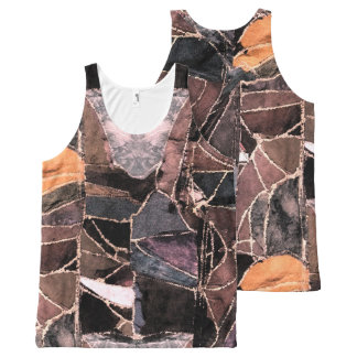 Leather patchwork print design All-Over-Print tank top