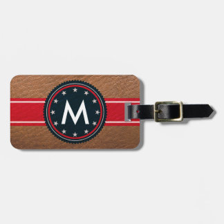 Leather Patriotic Luggage Tag with Monogram