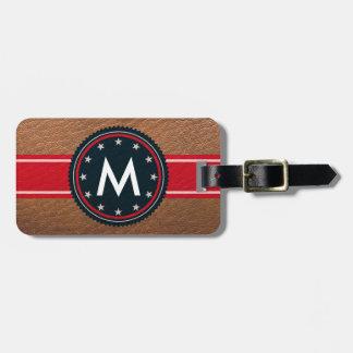 Leather Patriotic Luggage Tag with Monogram