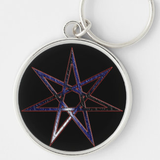 Leather Pride Fairy Star Silver-Colored Round Keychain