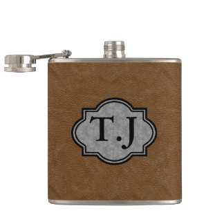 LEATHER PRINT FINISH MONOGRAMMED FLASK