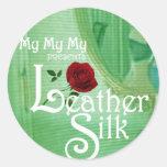 Leather Silk Cover Round Sticker