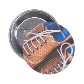 Leather Snakeskin Brown shoes 2 Inch Round Button
