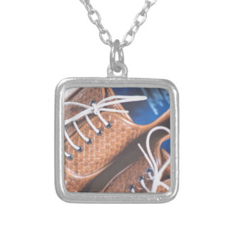 Leather Snakeskin Brown shoes Silver Plated Necklace