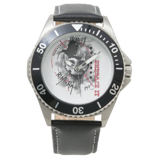 Leather & Stainless Steal RipToRn Logo Watch