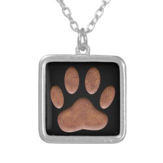 Leather Texture Dog Paw Print Silver Plated Necklace