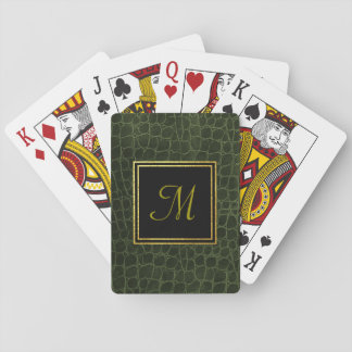 Leather Texture Monogram Playing Cards