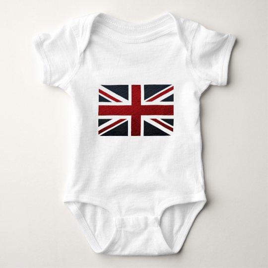 Leather Texture Pattern Union Jack British(UK) Fla Baby Bodysuit