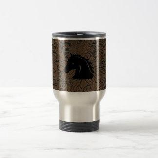 Leather Tool Design W/Horse Head SSteel Travel Mug
